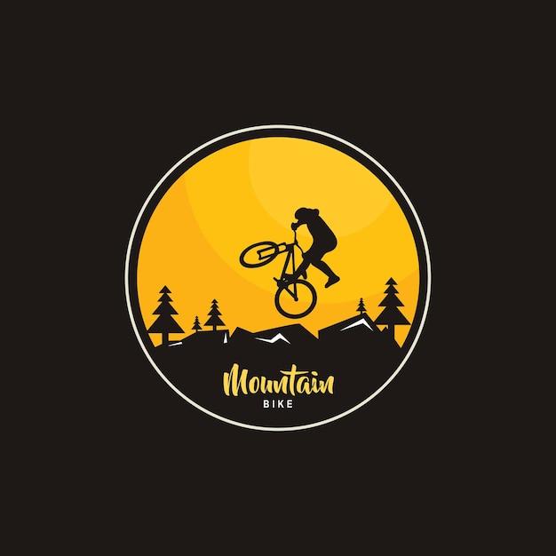 Illustration von mountainbike-logo-design, fahrrad-silhouette Premium Vektoren