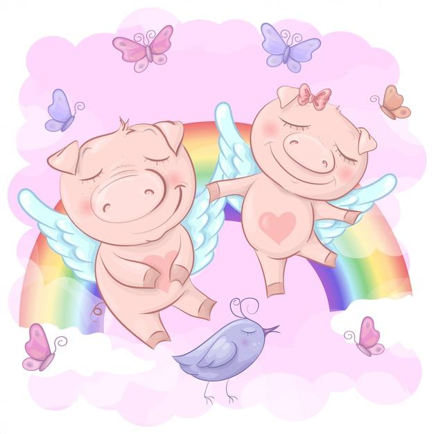Illustration von netten karikaturschweinen auf einem regenbogen Premium Vektoren