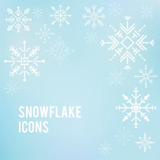 Illustration von netten schneeflockenikonen Kostenlosen Vektoren