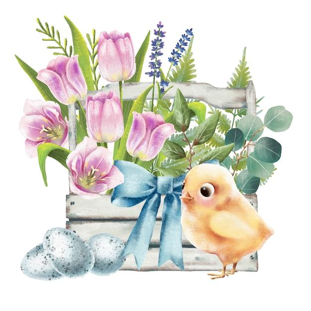 Illustration von ostern-korb mit huhn und tulpen Premium Vektoren