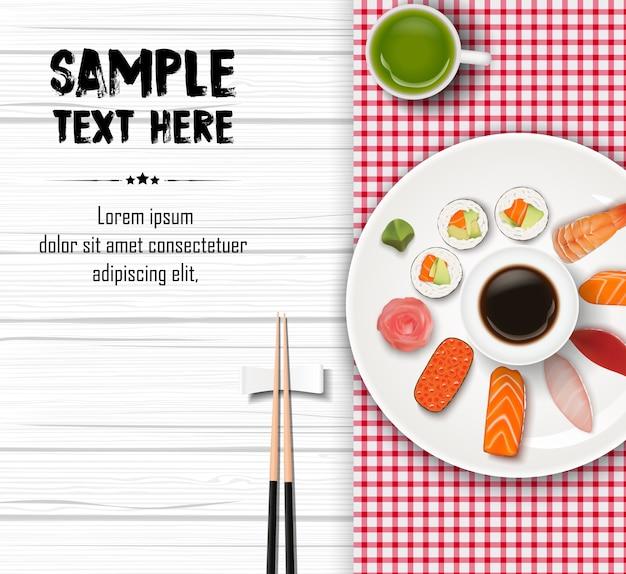 Illustration von realistischen japanischen traditionellen sushi Premium Vektoren