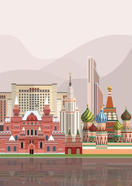 Illustration von russischen sehenswürdigkeiten Kostenlosen Vektoren