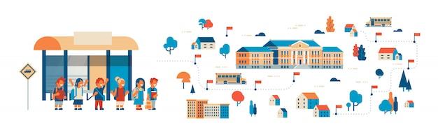 Illustration von schülern, die zur schule gehen, isometrisches gebäude, bushaltestelle Premium Vektoren
