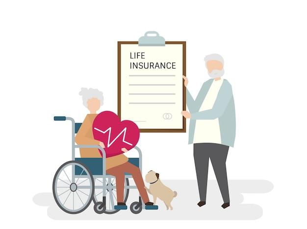 Illustration von senioren mit lebensversicherung Kostenlosen Vektoren