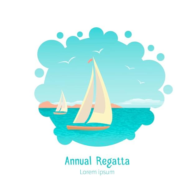 Illustration von stilisierten yachten in der seelagune Premium Vektoren