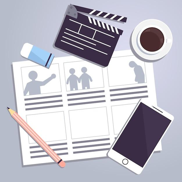 Illustration von storyboard-konzeptelementen Kostenlosen Vektoren