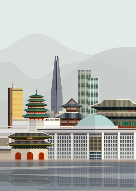 Illustration von südkoreanischen sehenswürdigkeiten Kostenlosen Vektoren