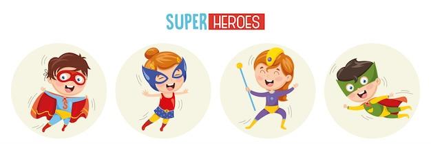 Illustration von superhelden Premium Vektoren