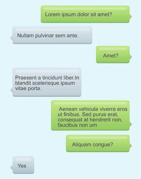 Illustration von telefon-chat-blasen. sms-nachrichten mit text auf hellblauem hintergrund. sprechblasen. nachrichtendienst, chat-konzept im flachen cartoon-stil. Premium Vektoren