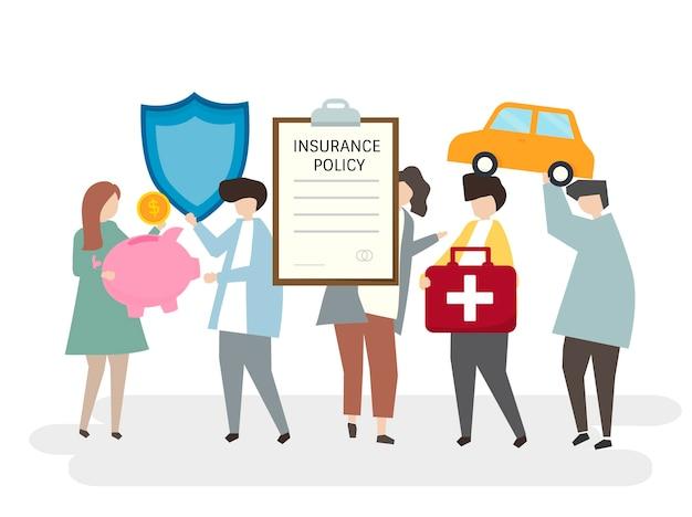 Illustration von verschiedenen versicherungspolicen Kostenlosen Vektoren