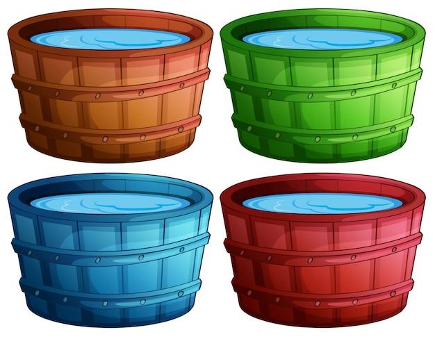 Illustration von vier verschiedenen farbe eimer Kostenlosen Vektoren