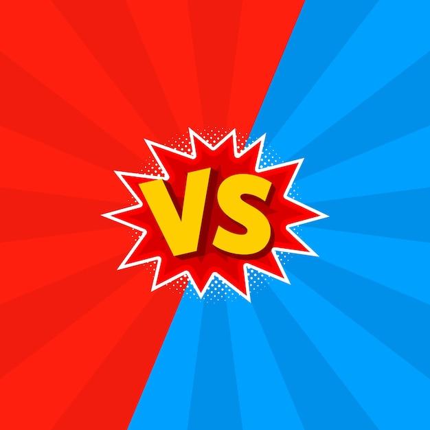 Illustration von vs als versus buchstaben im comic-stil. Premium Vektoren