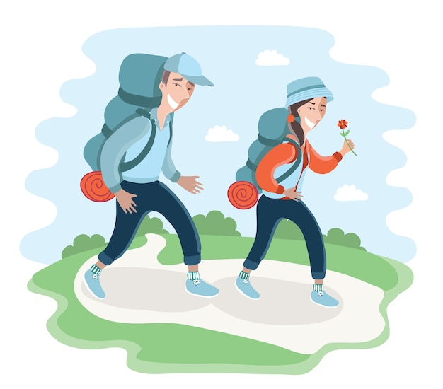 Illustration von wandelnden camping-touristen, die rucksäcke tragen Premium Vektoren