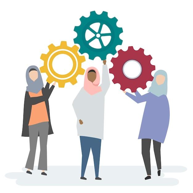 Illustration von zeichen der moslemischen frauen mit zahnrädern Kostenlosen Vektoren
