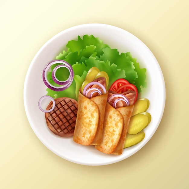Illustration von zwei burritos auf teller mit gegrilltem fleisch, salat, zwiebel und gurken auf gelbem tisch Premium Vektoren