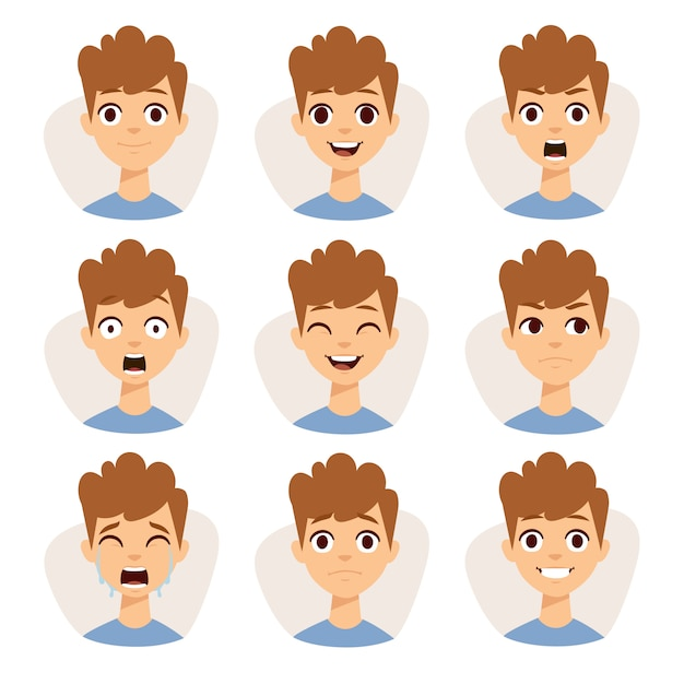 Illustration, welche die jungenkinder zeigen unterschiedliche gesichtsausdruckgefühlkarikatur kennzeichnet. Premium Vektoren