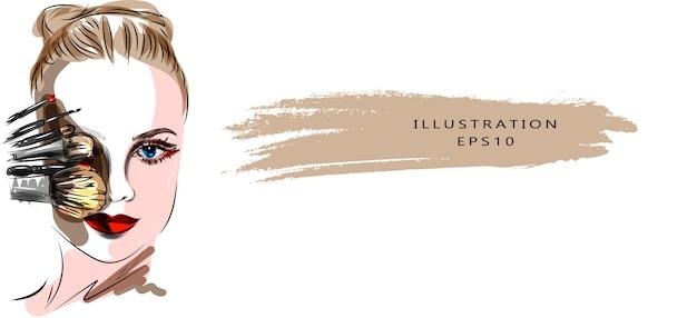 Illustration zum thema make-up und schönheit. stilvolle kunstskizze. hand gezeichnete glamour junge frau gesicht make-up mit schönen augen Premium Vektoren