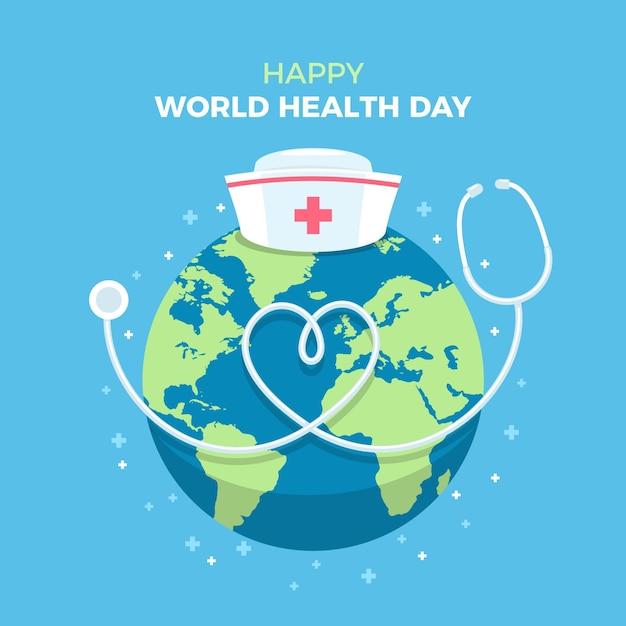 Illustration zum weltgesundheitstag mit planet und stethoskop Kostenlosen Vektoren