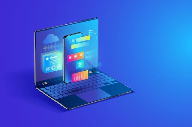 Illustration zur entwicklung von software und mobilen anwendungen Premium Vektoren