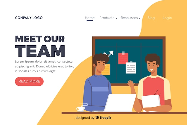 Illustration zur landingpage mit unserem teamkonzept Kostenlosen Vektoren