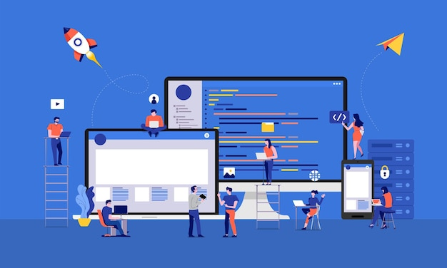 Illustrationen design entwickler oder programmierer entwicklungscode und website Premium Vektoren