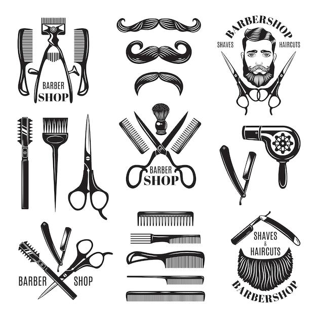 Illustrationen eingestellt von verschiedenen friseursalonwerkzeugen. Premium Vektoren