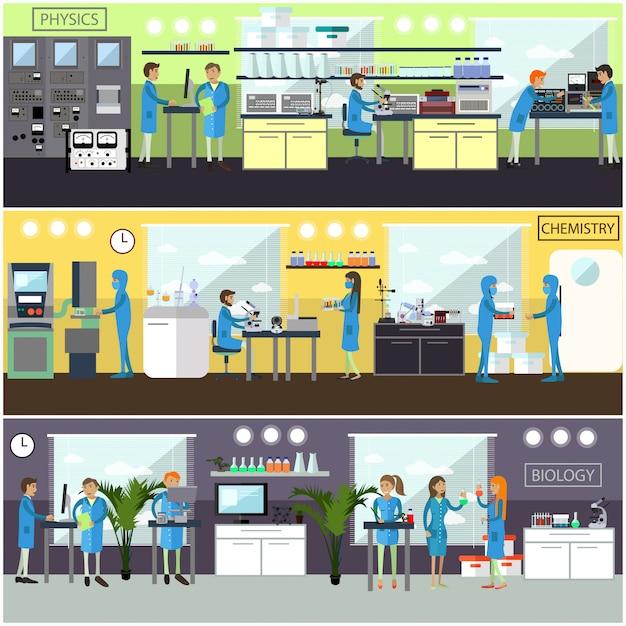 Illustrationen mit wissenschaftlichen forschungslabors und wissenschaftlern Premium Vektoren