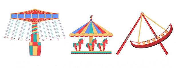 Illustrationen von karussells isoliert Premium Vektoren