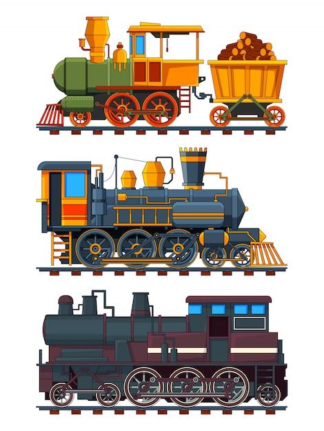 Illustrationen von retro-zügen mit wagen Premium Vektoren