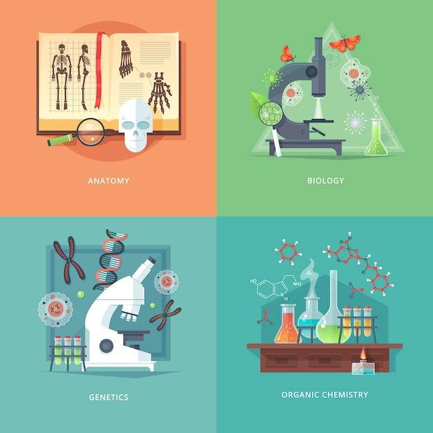 Illustrationen zu bildungs- und wissenschaftskonzepten. anatomie, biologie, genetik und organische chemie. wissenschaft vom leben und ursprung der arten. . Premium Vektoren