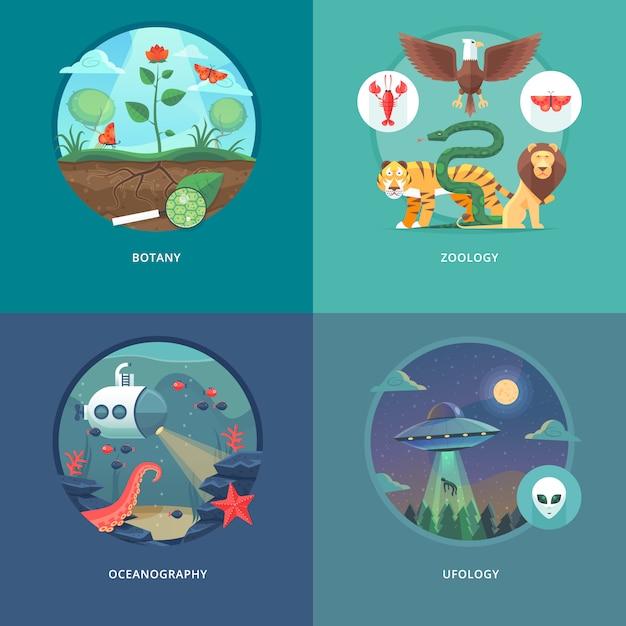 Illustrationen zu bildungs- und wissenschaftskonzepten. botanik, zoologie, ozeanographie und ufologie. wissenschaft vom leben und ursprung der arten. . Premium Vektoren