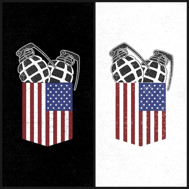Illustrations-amerikanische tasche und granade Premium Vektoren