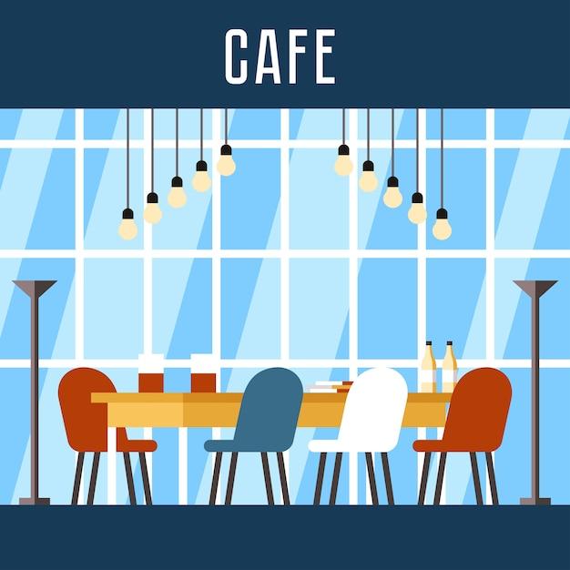 Illustrations-buchungsplatz in coworking cafe. Premium Vektoren