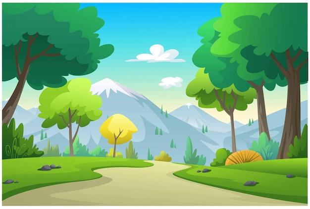 Illustrationsberge, bäume, getreidefeld Premium Vektoren