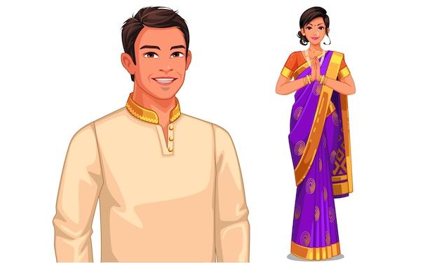 Illustrationscharakter von indischen paaren in der traditionellen ausstattung Premium Vektoren