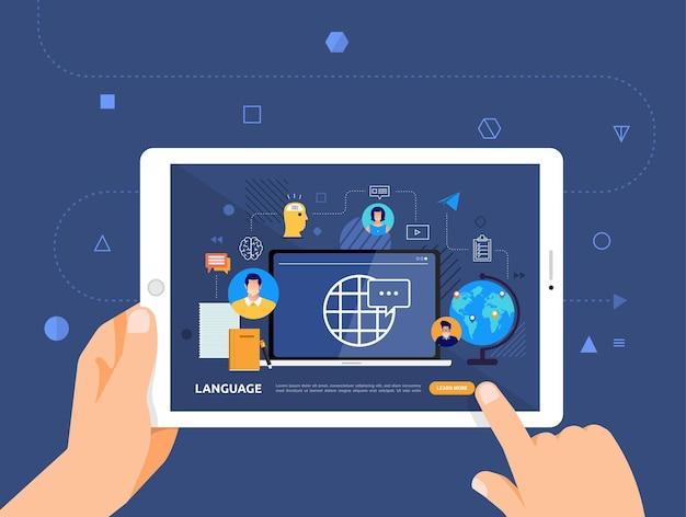 Illustrationsdesign concpt e-learning mit handklick auf tablet online-kurssprache Premium Vektoren