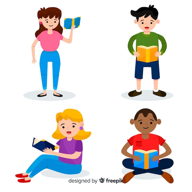 Illustrationsdesign mit dem ablesen der jungen leute Kostenlosen Vektoren