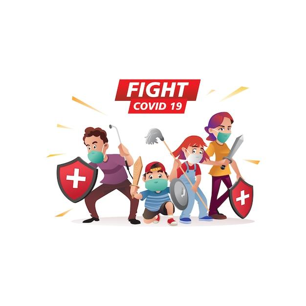 Illustrationsfamilie gegen coronavirus oder kampf gegen covid 19 Premium Vektoren