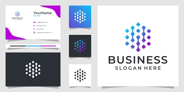 Illustrationsgrafiken des abstrakten technologie-logos und des visitenkartenentwurfs. gut für branding, anzeigen, geschäftlichen und persönlichen gebrauch Premium Vektoren
