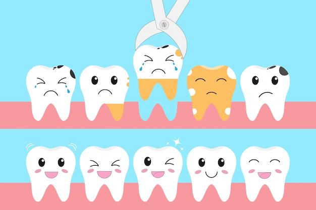 Illustrationsikonensatz gesunde zähne und problem des zahnverlustes Premium Vektoren