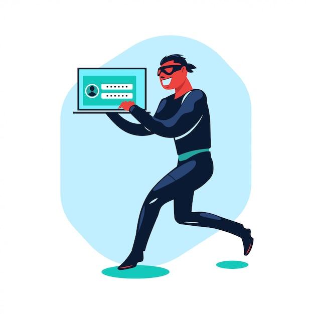 Illustrationskonzept cyber-kriminalität von hackern, die daten stehlen und phishing betreiben Premium Vektoren