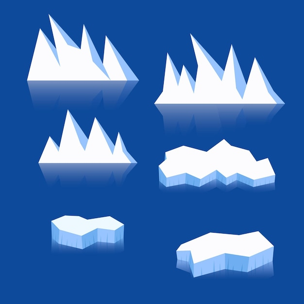 Illustrationskonzept der eisbergsammlung Premium Vektoren