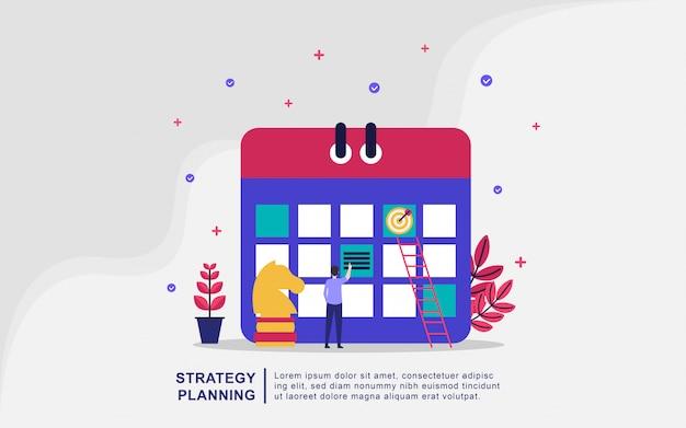 Illustrationskonzept der planung. leute machen einen plan, planen management Premium Vektoren
