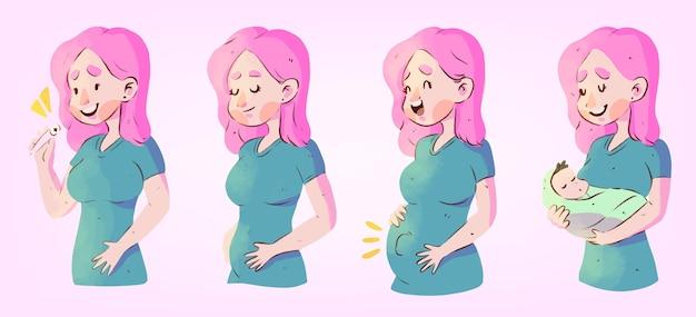 Illustrationskonzept der schwangerschaftsstadien Kostenlosen Vektoren