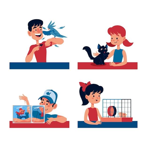 Illustrationskonzept der verschiedenen haustiere Kostenlosen Vektoren