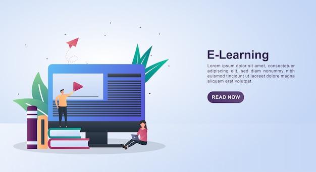 Illustrationskonzept des e-lernens mit einer person, die auf einem stapel bücher steht. Premium Vektoren