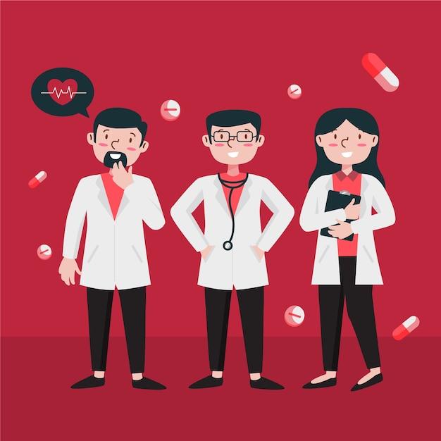 Illustrationskonzept des medizinischen fachmannteams Kostenlosen Vektoren