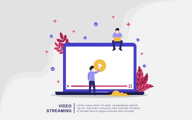 Illustrationskonzept des video-streamings. leute spielen online-video, spielen film Premium Vektoren