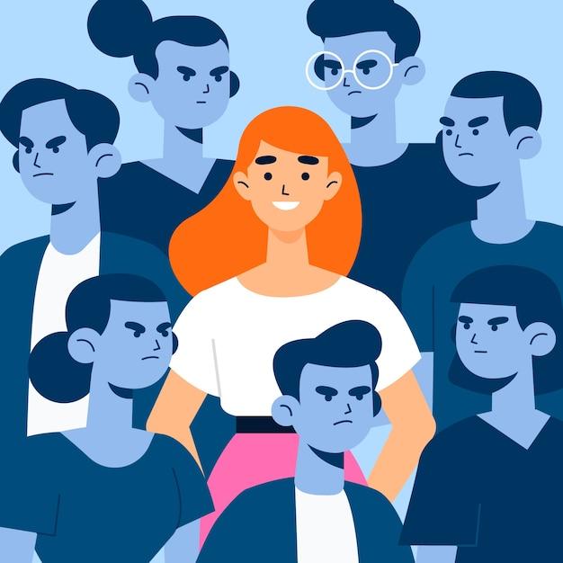 Illustrationskonzept mit lächelnder person in der menge Kostenlosen Vektoren