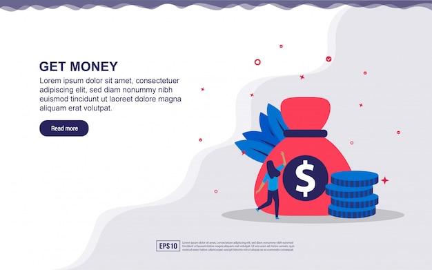 Illustrationskonzept von erhalten geld. erhalten sie bonus, geschäftsgewinn. Premium Vektoren